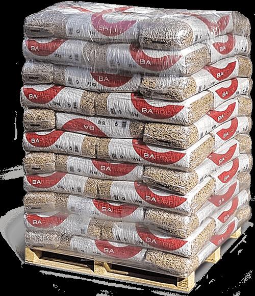 BAFIRE Qualitäts Pellets auf Europalette geliefert